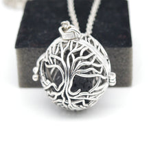 Antique Silver Life Tree Lava Stone Diffuser Necklace