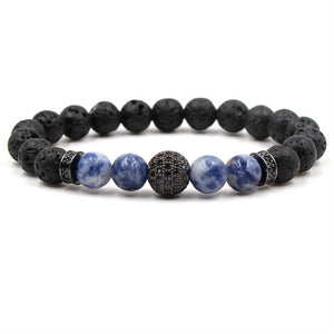 Crystal Ball Charm Diffuser Bracelet with Blue Agate and Black Lava Stone Beads