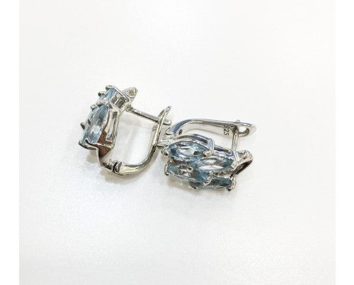 BLUE TOPAZ EARRINGS IN 925 STERLING SILVER - Taula Pte Ltd