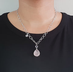 Rose Quartz Amethyst Italian Chain Necklace in 925 Sterling Silver - Taula Pte Ltd