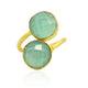 2-STONE CHALCEDONY RING IN GOLD PLATED BRASS