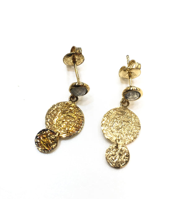 LABRADORITE EARRINGS IN 925 STERLING SILVER & 18K YELLOW GOLD PLATING - Taula Pte Ltd