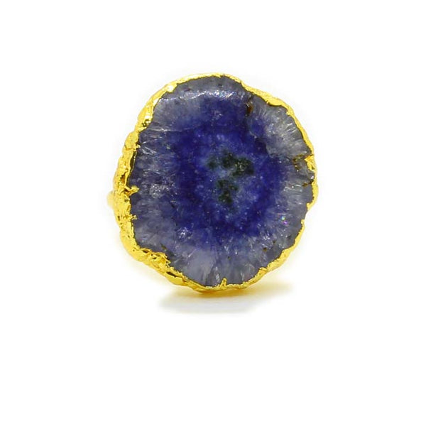 BLUE AGATE GOLD PLATED RING - Taula Pte Ltd