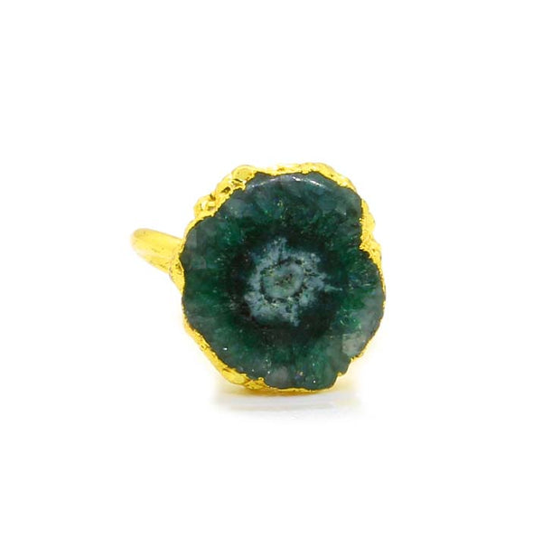 GREEN AGATE GOLD PLATED RING
