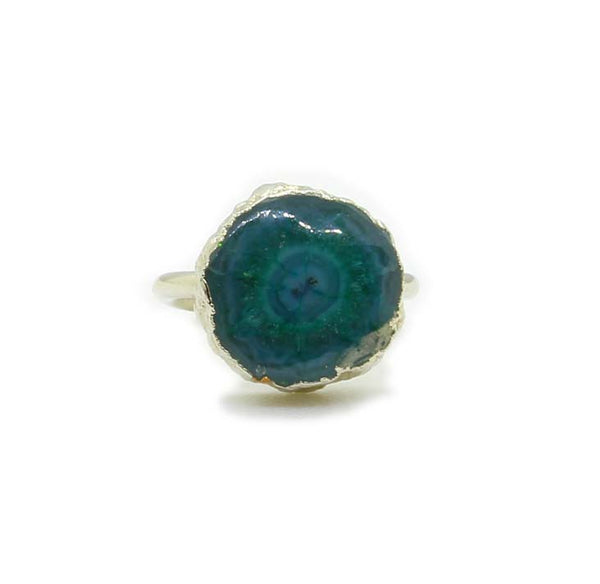 GREEN AGATE SILVER FOIL RING - Taula Pte Ltd