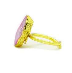 PINK AGATE GOLD PLATED RING - Taula Pte Ltd