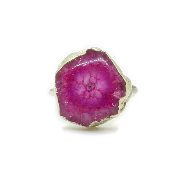 PINK AGATE SILVER FOIL RING