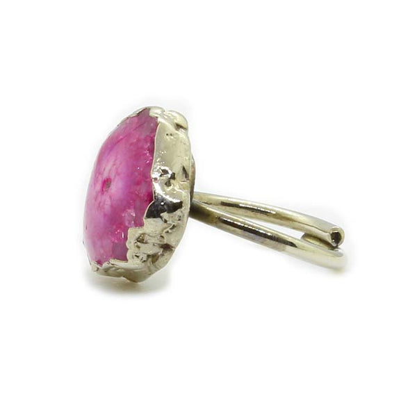 PINK AGATE SILVER FOIL RING - Taula Pte Ltd
