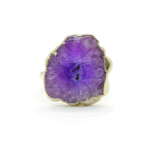 PURPLE AGATE SILVER FOIL RING - Taula Pte Ltd