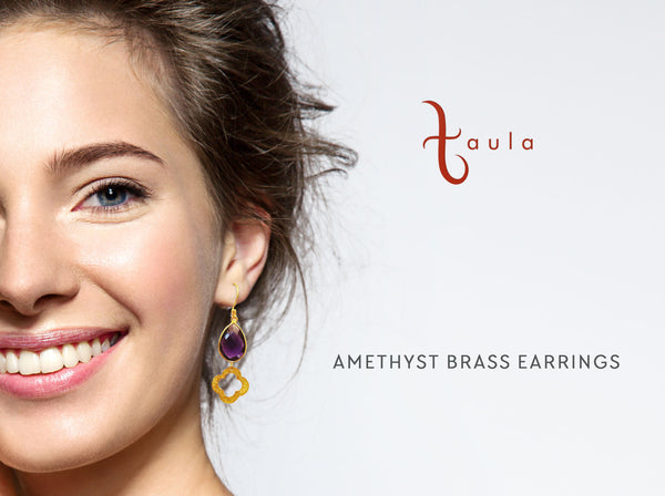 AMETHYST BRASS EARRINGS - Taula Pte Ltd