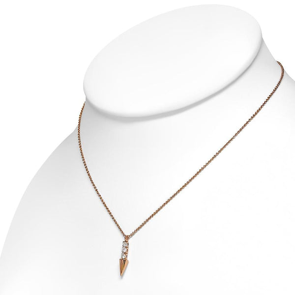 Rose Gold Plated Brass Necklace Petite Arrow Necklace with Clear CZ - Taula Pte Ltd