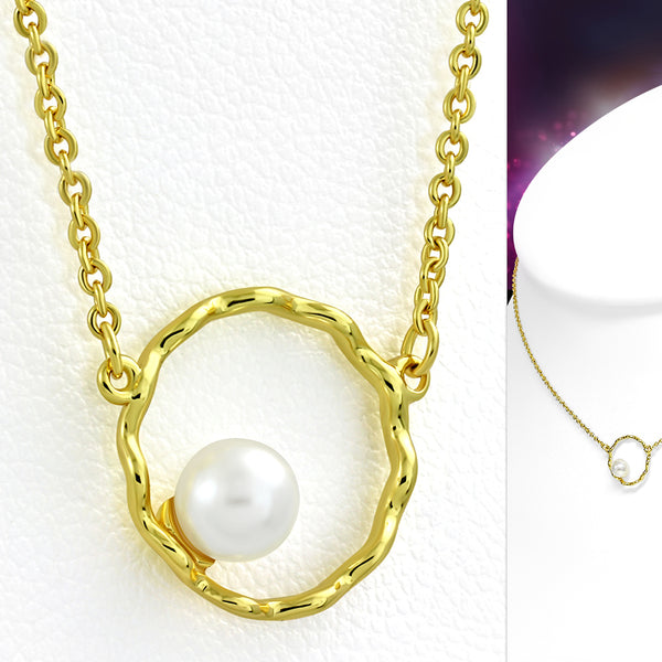 Yellow Gold Plated Brass Petite Necklace with Pearl - Taula Pte Ltd