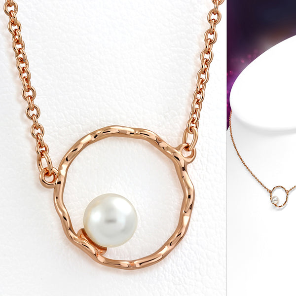 Rose/Pink Gold Plated Brass Petite Necklace with Pearl Bead