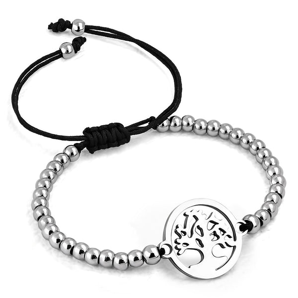 Stainless Steel Tree Circle Watch-Style Metal Beads Adjustable Black String Cord Bracelet - Taula Pte Ltd