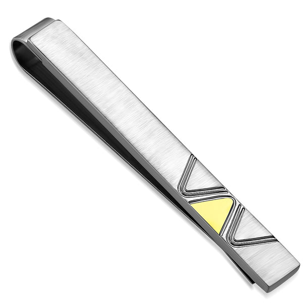 Men's Stainless Steel 2-Tone Lighting Bolt Bar Necktie Tie Clip - Taula Pte Ltd