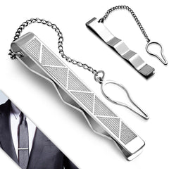 Men's Stainless Steel Triangle Bar Tie Clip with Chain