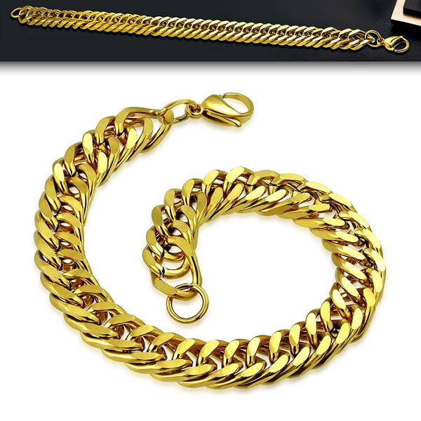 Men's Gold Plated Stainless Steel Flat Curb Cuban Link Chain Bracelet - Taula Pte Ltd