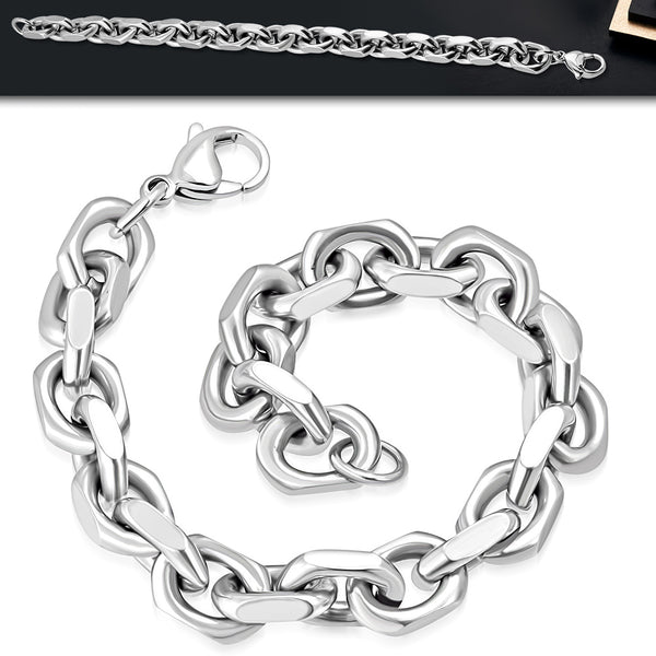 Men's Stainless Steel Marine Anchor Link Chain Bracelet - Taula Pte Ltd