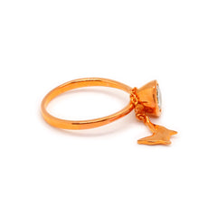 Rose Gold Plated Butterfly Charm Band Ring with Clear CZ