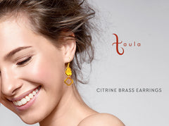 CITRINE BRASS EARRINGS IN GOLD PLATED BRASS - Taula Pte Ltd