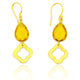 CITRINE BRASS EARRINGS IN GOLD PLATED BRASS
