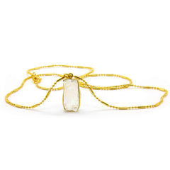 NATURAL CLEAR QUARTZ NECKLACE IN GOLD PLATED BRASS - Taula Pte Ltd
