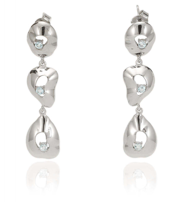 TOPAZ DANGLE EARRINGS IN 925 STERLING SILVER IN RHODIUM PLATING - Taula Pte Ltd