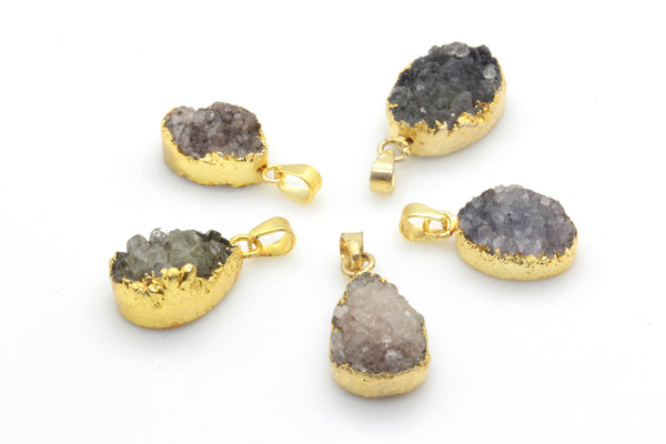 Grey Druzy Pendant with Gold Plated Brass Necklace - Taula Pte Ltd