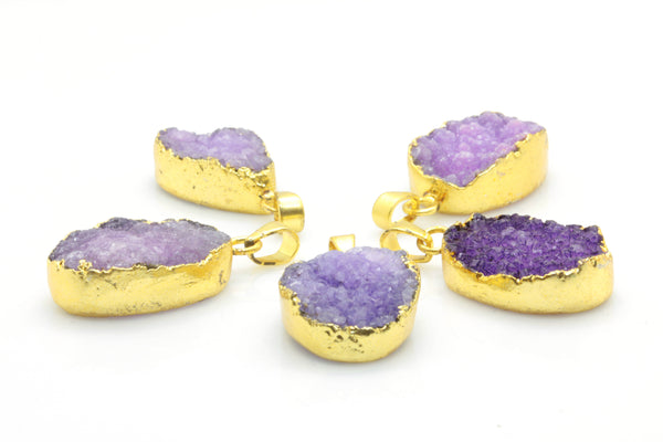 Purple Druzy Pendant with Gold Plated Brass Necklace