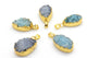 Turquoise Druzy Pendant with Gold Plated Brass Necklace