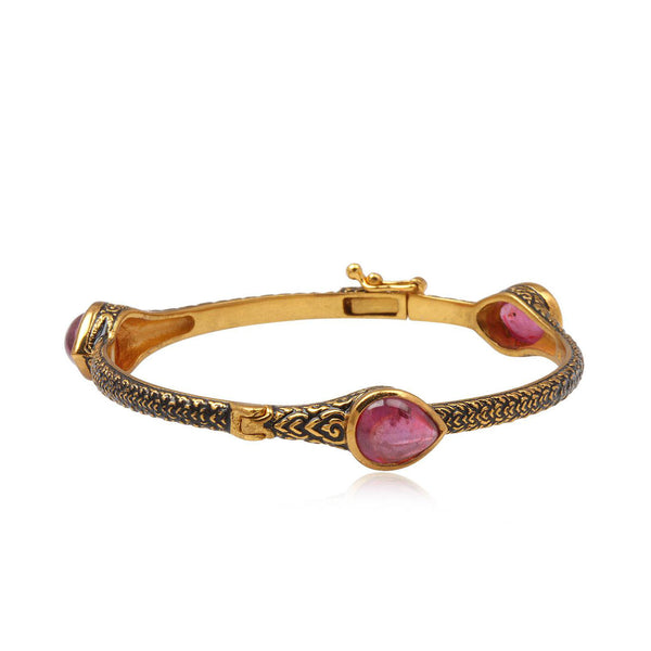 Ruby Bracelet in 925 Sterling Silver & 22K Gold Plating - Taula Pte Ltd