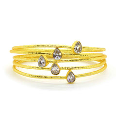 Clear Quartz Crystal Bangle in Gold Plated Brass - Taula Pte Ltd