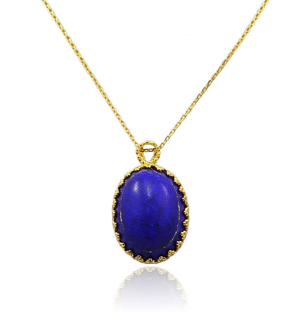 LAPIS LAZULI PENDANT IN 925 STERLING SILVER & 18K YELLOW GOLD PLATING - Taula Pte Ltd