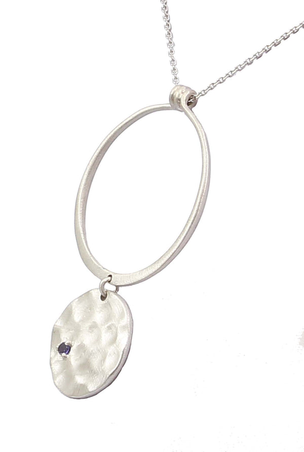 INKY IOLITE PENDANT IN 925 STERLING SILVER - Taula Pte Ltd