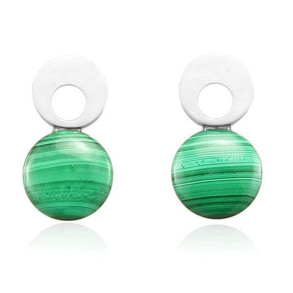 MALACHITE GREEN EARRINGS IN 925 STERLING SILVER - Taula Pte Ltd