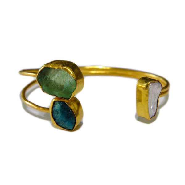 Gold plated Solar Quartz Cuff in Brass - Taula Pte Ltd
