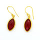 GARNET EARRINGS IN GOLD PLATED BRASS
