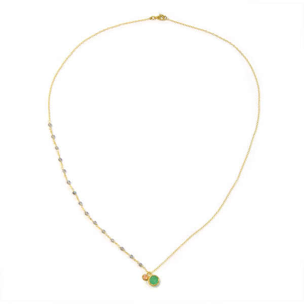 Aventurine Moonstone Labradorite Necklace in 925 Sterling Silver & Gold Plating - Taula Pte Ltd