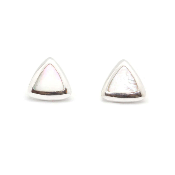 Silver Plated Brass Triangle Stud Earrings with Shell Inlay - Taula Pte Ltd