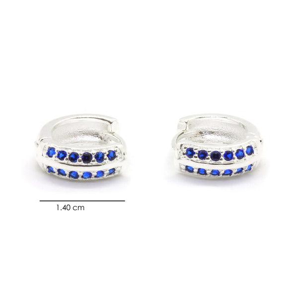 Silver Plated Brass Huggie Earrings with Blue Sapphire CZ - Taula Pte Ltd