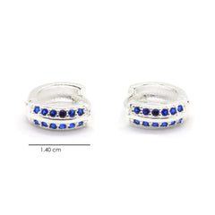 Silver Plated Brass Huggie Earrings with Blue Sapphire CZ