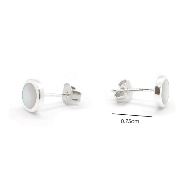 Silver Plated Round Stud Earrings with Shell Inlay in Brass - Taula Pte Ltd