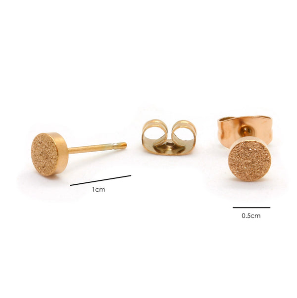Rose Gold Plated Stainless Steel Sandblasted Round Stud Earrings - Taula Pte Ltd