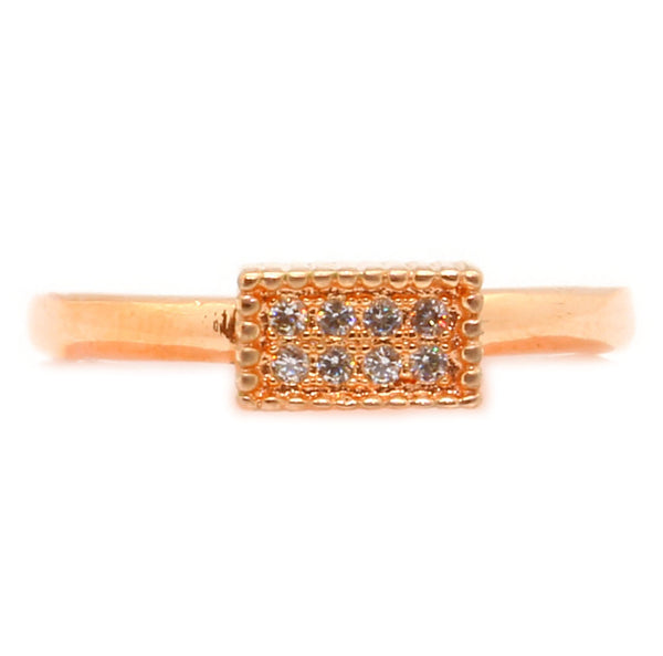 Rose Gold Plating Micro Pave Ring with Clear CZ in Brass