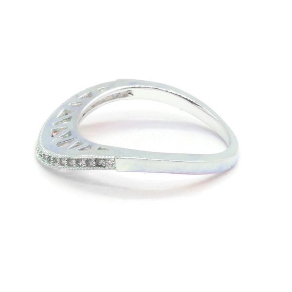 Silver Plated Brass Ring with Micro Pave Clear CZ