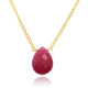 RECONSTRUCTED RUBY NECKLACE IN GOLD PLATED BRASS