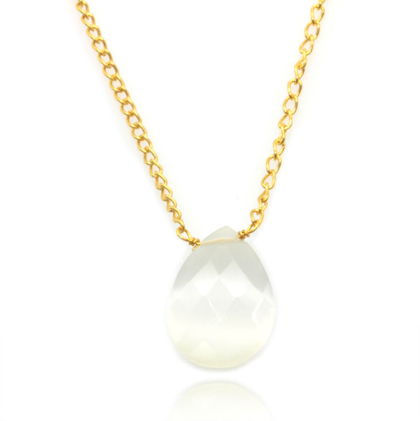 MOONSTONE NECKLACE IN GOLD PLATED BRASS - Taula Pte Ltd