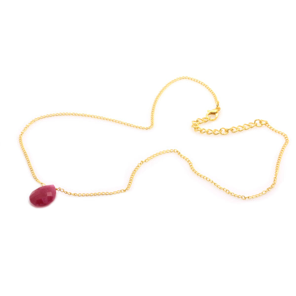 RECONSTRUCTED RUBY NECKLACE IN GOLD PLATED BRASS - Taula Pte Ltd