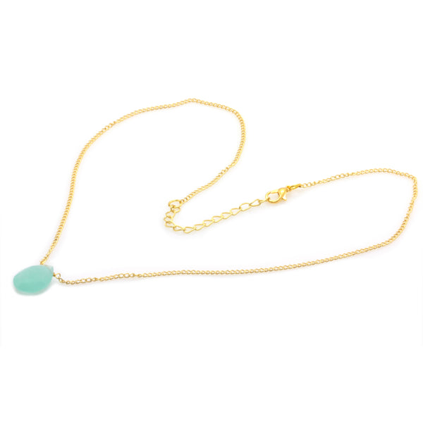 CHALCEDONY NECKLACE IN GOLD PLATED BRASS - Taula Pte Ltd