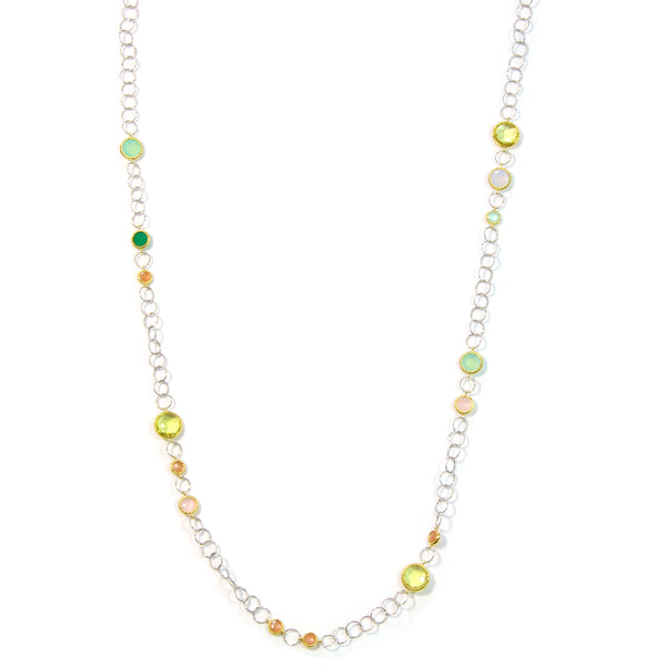 ITALIAN LONG NECKLACE IN 925 STERLING SILVER & 18K YELLOW GOLD PLATING - Taula Pte Ltd